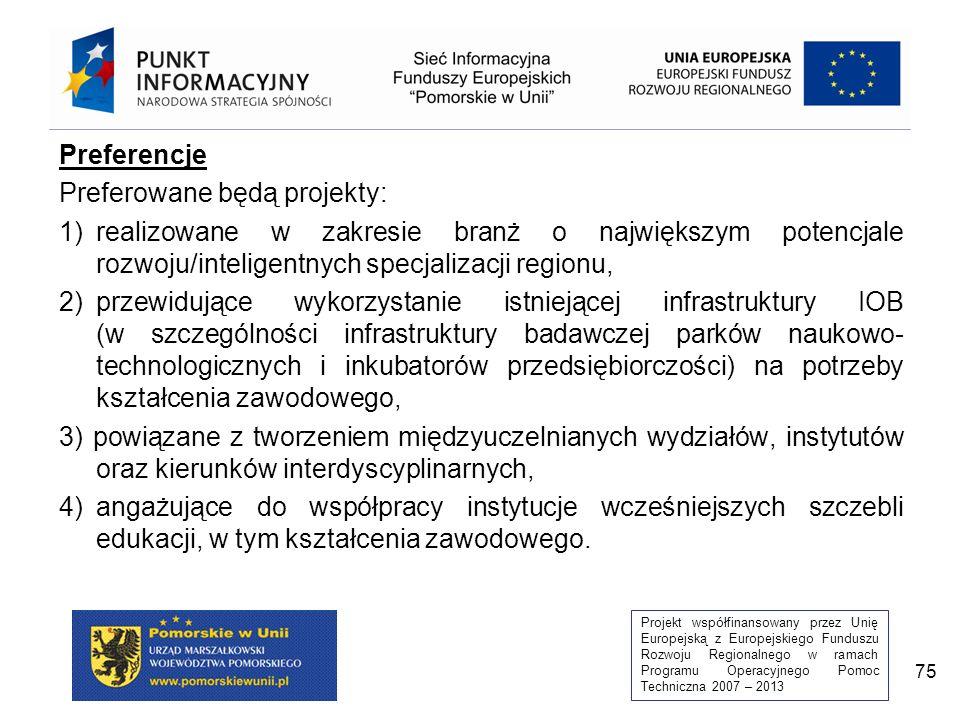 Projekt współfinansowany przez Unię Europejską z Europejskiego Funduszu Rozwoju Regionalnego w ramach Programu Operacyjnego Pomoc Techniczna 2007 – 2013 75 Preferencje Preferowane będą projekty: 1)realizowane w zakresie branż o największym potencjale rozwoju/inteligentnych specjalizacji regionu, 2)przewidujące wykorzystanie istniejącej infrastruktury IOB (w szczególności infrastruktury badawczej parków naukowo- technologicznych i inkubatorów przedsiębiorczości) na potrzeby kształcenia zawodowego, 3) powiązane z tworzeniem międzyuczelnianych wydziałów, instytutów oraz kierunków interdyscyplinarnych, 4) angażujące do współpracy instytucje wcześniejszych szczebli edukacji, w tym kształcenia zawodowego.