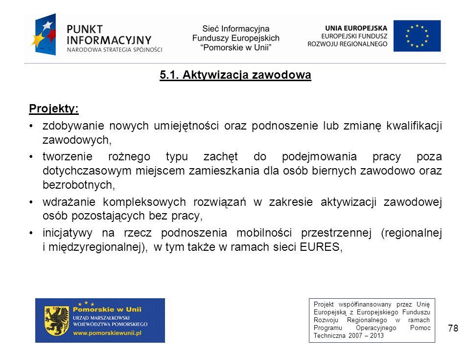 Projekt współfinansowany przez Unię Europejską z Europejskiego Funduszu Rozwoju Regionalnego w ramach Programu Operacyjnego Pomoc Techniczna 2007 – 2013 78 5.1.