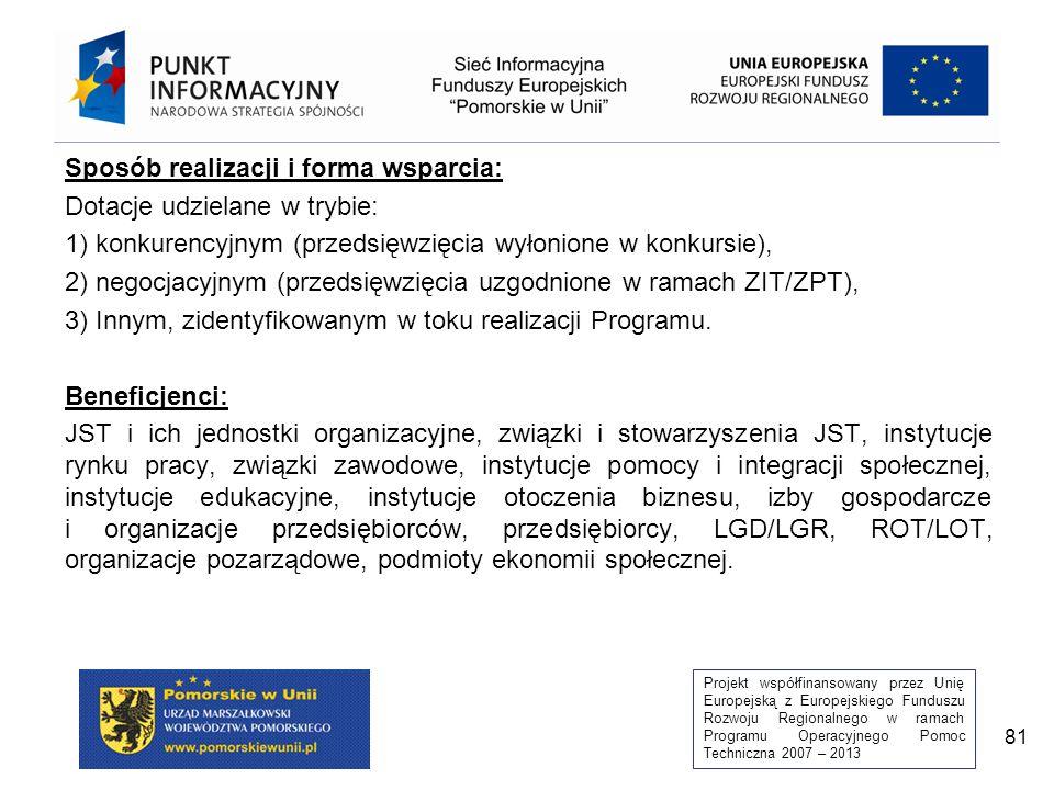 Projekt współfinansowany przez Unię Europejską z Europejskiego Funduszu Rozwoju Regionalnego w ramach Programu Operacyjnego Pomoc Techniczna 2007 – 2013 81 Sposób realizacji i forma wsparcia: Dotacje udzielane w trybie: 1) konkurencyjnym (przedsięwzięcia wyłonione w konkursie), 2) negocjacyjnym (przedsięwzięcia uzgodnione w ramach ZIT/ZPT), 3) Innym, zidentyfikowanym w toku realizacji Programu.