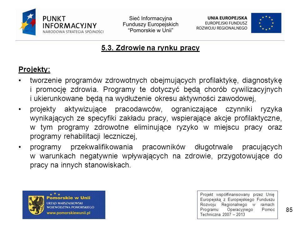Projekt współfinansowany przez Unię Europejską z Europejskiego Funduszu Rozwoju Regionalnego w ramach Programu Operacyjnego Pomoc Techniczna 2007 – 2013 85 5.3.