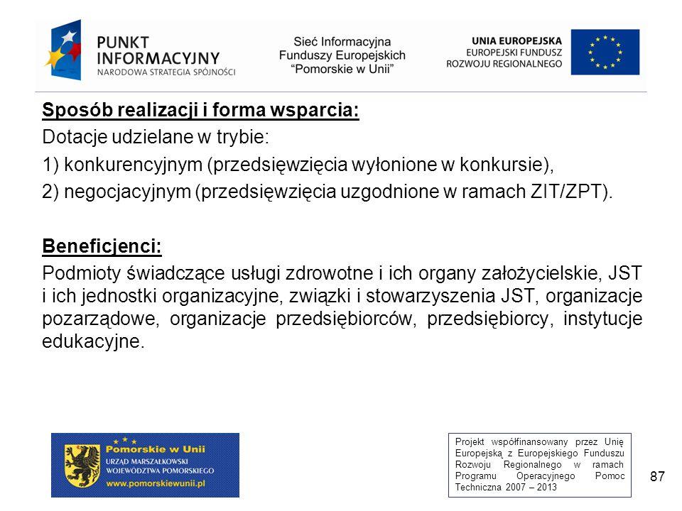 Projekt współfinansowany przez Unię Europejską z Europejskiego Funduszu Rozwoju Regionalnego w ramach Programu Operacyjnego Pomoc Techniczna 2007 – 2013 87 Sposób realizacji i forma wsparcia: Dotacje udzielane w trybie: 1) konkurencyjnym (przedsięwzięcia wyłonione w konkursie), 2) negocjacyjnym (przedsięwzięcia uzgodnione w ramach ZIT/ZPT).