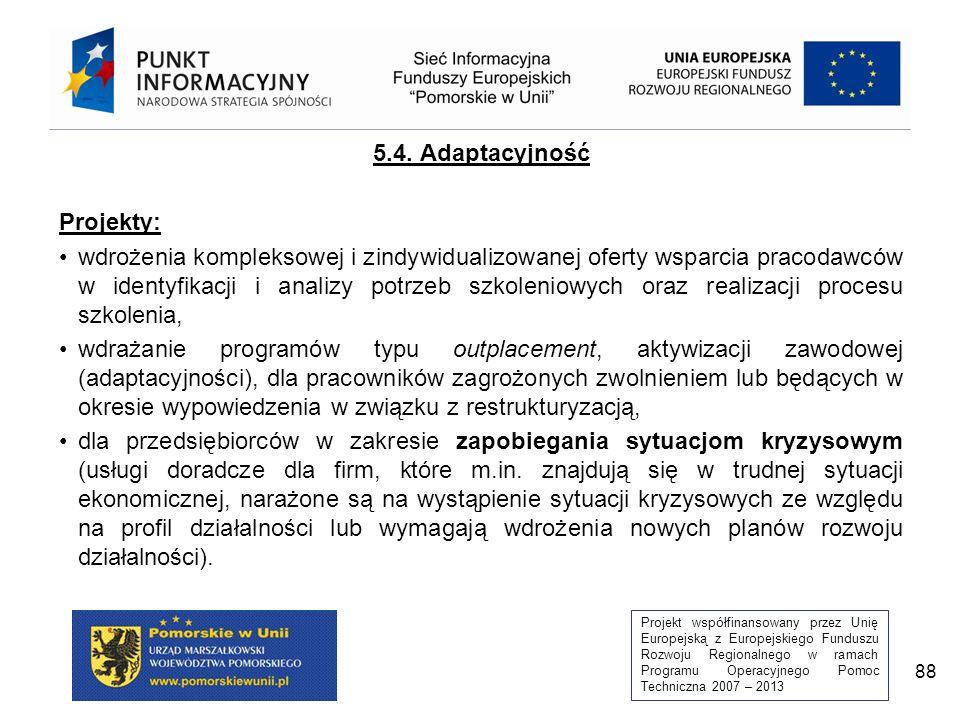 Projekt współfinansowany przez Unię Europejską z Europejskiego Funduszu Rozwoju Regionalnego w ramach Programu Operacyjnego Pomoc Techniczna 2007 – 2013 88 5.4.