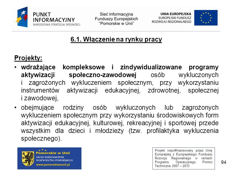 Projekt współfinansowany przez Unię Europejską z Europejskiego Funduszu Rozwoju Regionalnego w ramach Programu Operacyjnego Pomoc Techniczna 2007 – 2013 94 6.1.