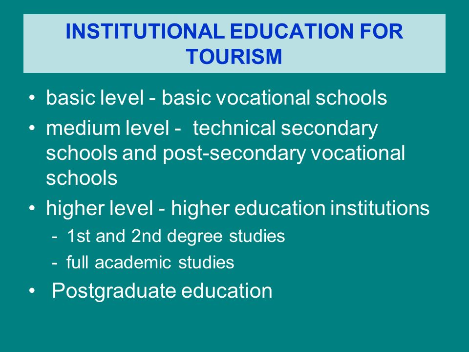 KSZTAŁCENIE I DOSKONALENIE KADR DLA TURYSTYKI Instytucjonalne kształcenie kadr dla turystyki kształcenie i doskonalenie kadr systemem kursowym