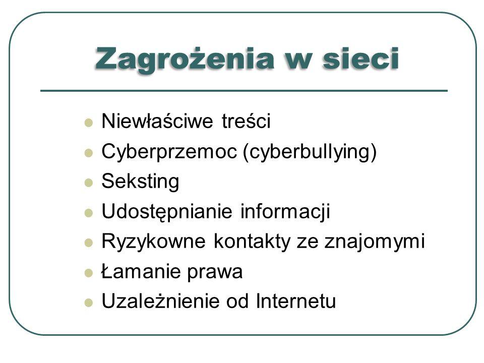 Zagrożenia w sieci Niewłaściwe treści Cyberprzemoc (cyberbullying) Seksting Udostępnianie informacji Ryzykowne kontakty ze znajomymi Łamanie prawa Uza
