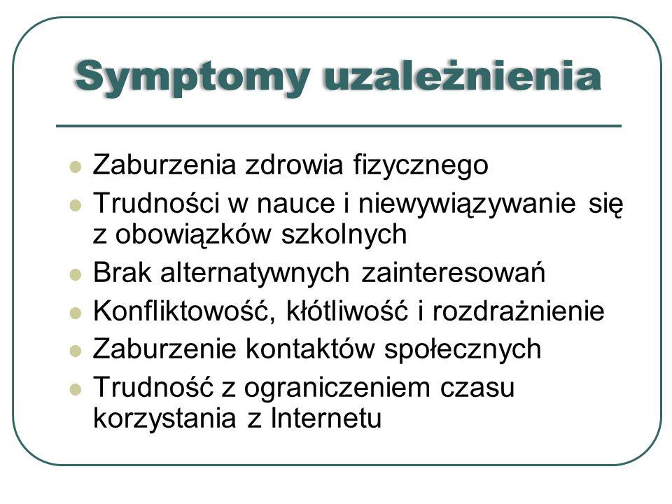 Symptomy uzależnienia Zaburzenia zdrowia fizycznego Trudności w nauce i niewywiązywanie się z obowiązków szkolnych Brak alternatywnych zainteresowań K