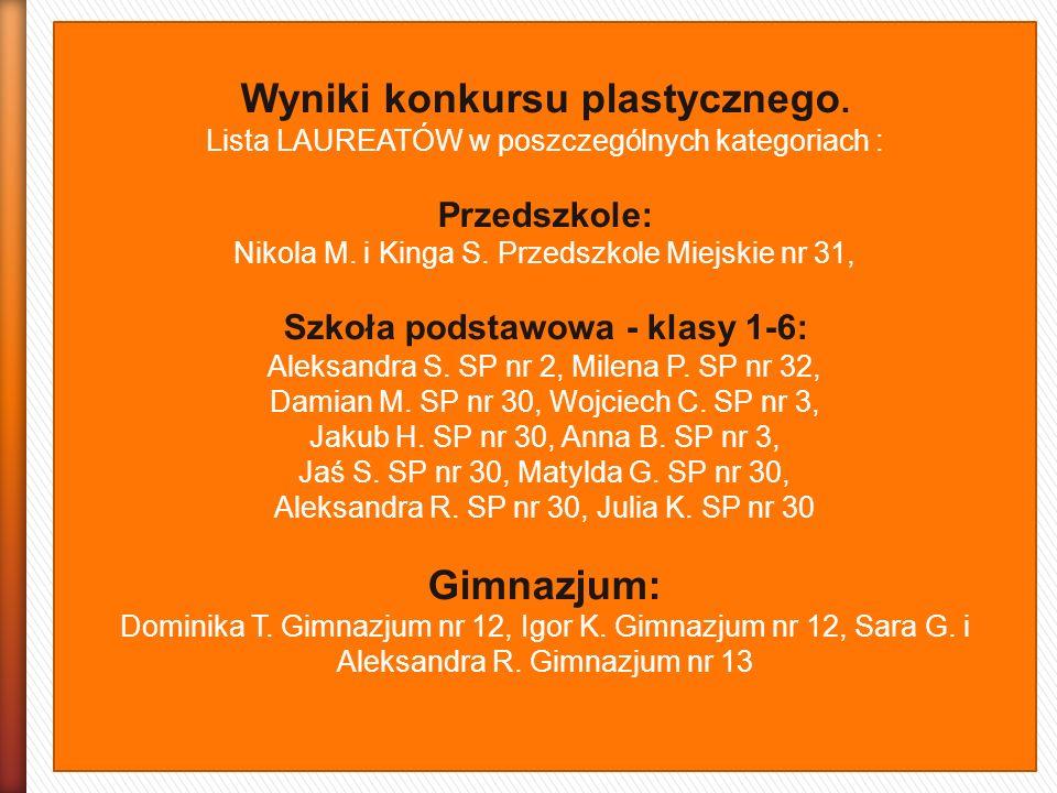 Wyniki konkursu plastycznego. Lista LAUREATÓW w poszczególnych kategoriach : Przedszkole: Nikola M. i Kinga S. Przedszkole Miejskie nr 31, Szkoła pods
