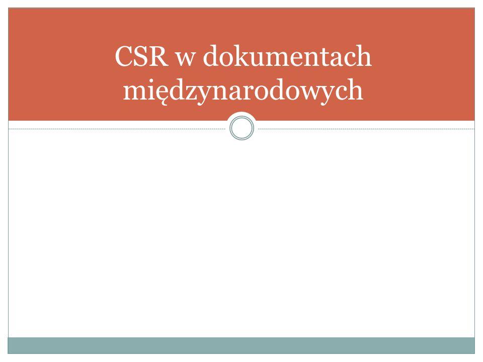 CSR w dokumentach międzynarodowych