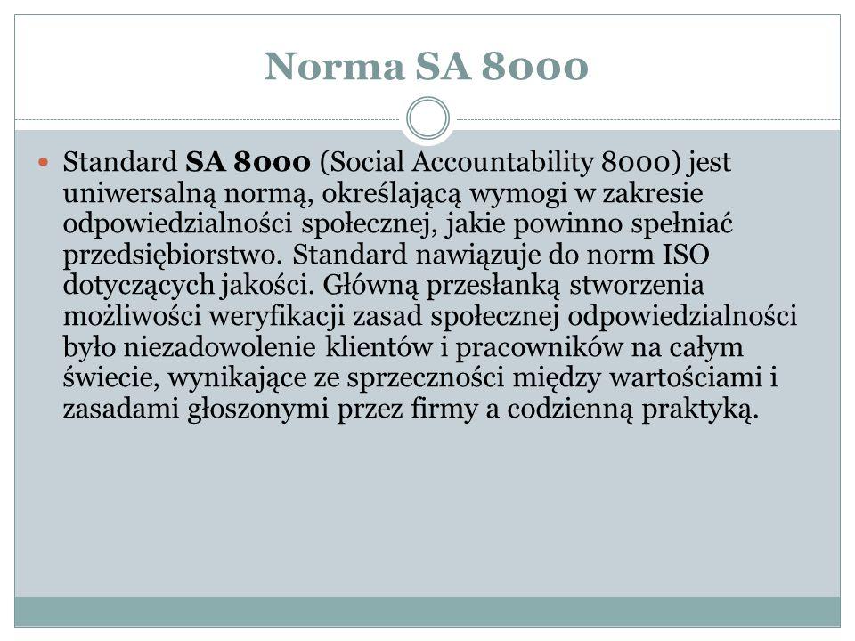 Norma SA 8000 Standard SA 8000 (Social Accountability 8000) jest uniwersalną normą, określającą wymogi w zakresie odpowiedzialności społecznej, jakie powinno spełniać przedsiębiorstwo.