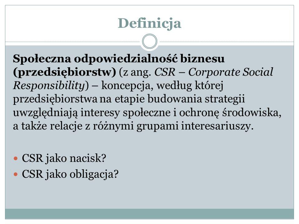 Definicja Społeczna odpowiedzialność biznesu (przedsiębiorstw) (z ang.