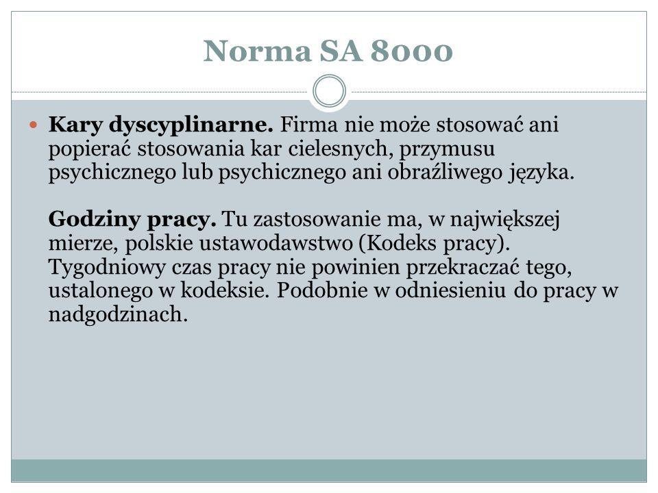 Norma SA 8000 Kary dyscyplinarne.