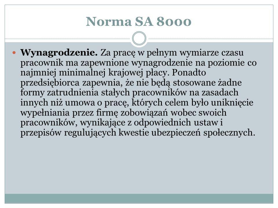 Norma SA 8000 Wynagrodzenie.