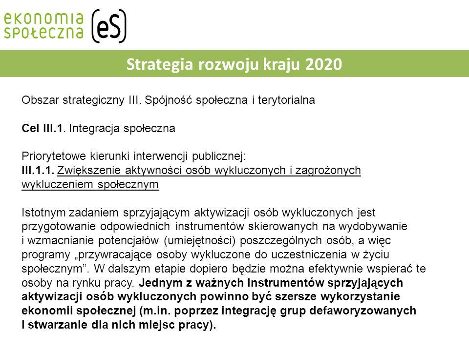 Strategia rozwoju kraju 2020 Obszar strategiczny III.