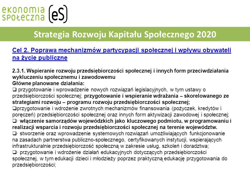 Strategia Rozwoju Kapitału Społecznego 2020 Cel 2.