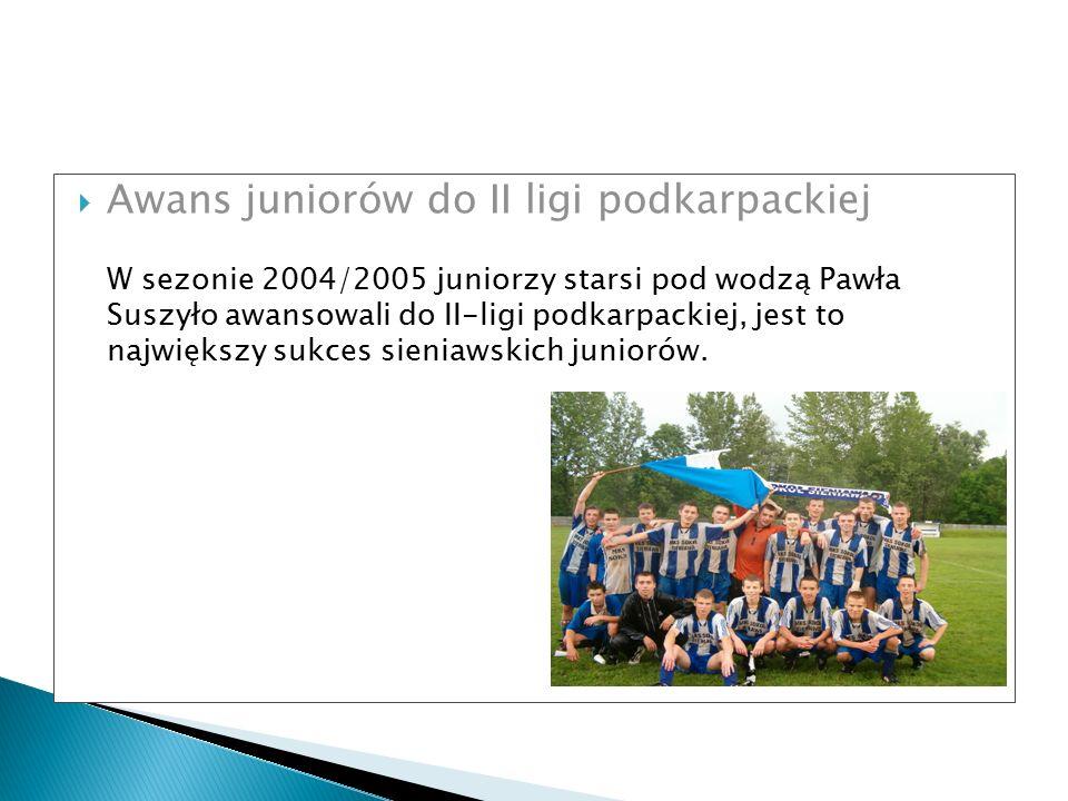  Awans juniorów do II ligi podkarpackiej W sezonie 2004/2005 juniorzy starsi pod wodzą Pawła Suszyło awansowali do II-ligi podkarpackiej, jest to naj