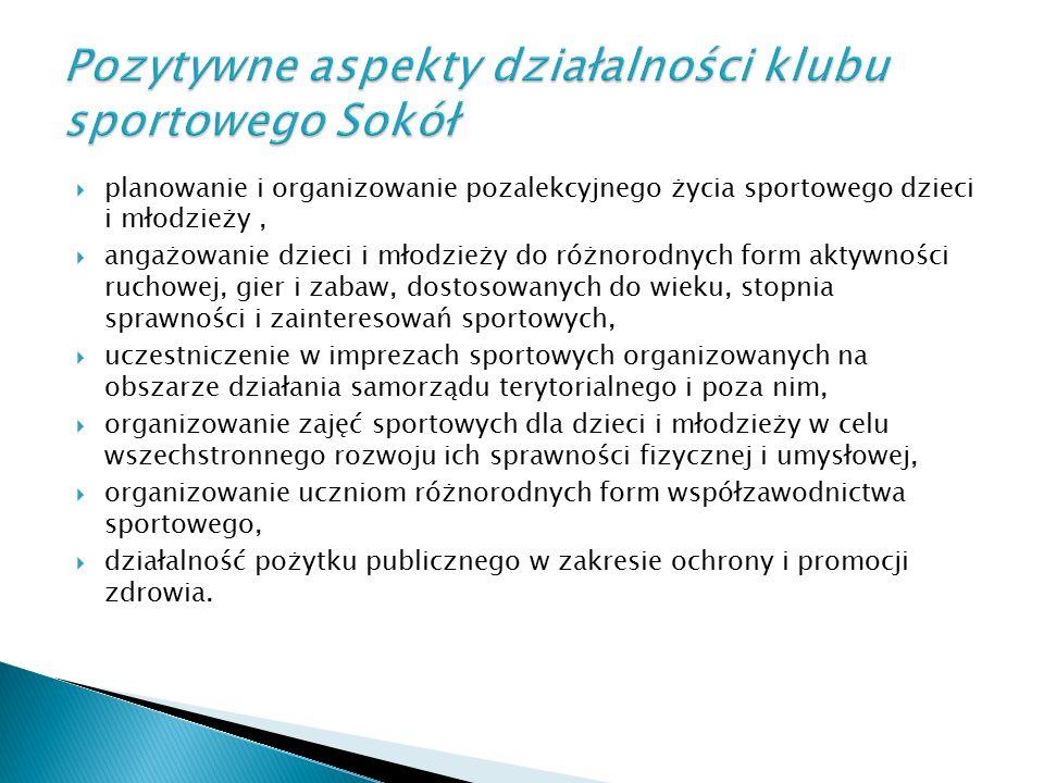  planowanie i organizowanie pozalekcyjnego życia sportowego dzieci i młodzieży,  angażowanie dzieci i młodzieży do różnorodnych form aktywności ruch