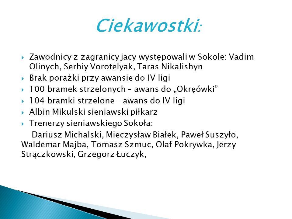 Ciekawostki :  Zawodnicy z zagranicy jacy występowali w Sokole: Vadim Olinych, Serhiy Vorotelyak, Taras Nikalishyn  Brak porażki przy awansie do IV