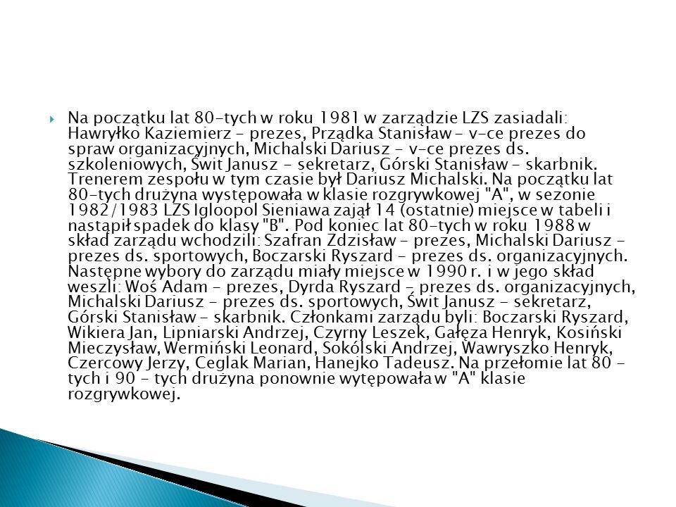  Na początku lat 80-tych w roku 1981 w zarządzie LZS zasiadali: Hawryłko Kaziemierz - prezes, Prządka Stanisław - v-ce prezes do spraw organizacyjnyc