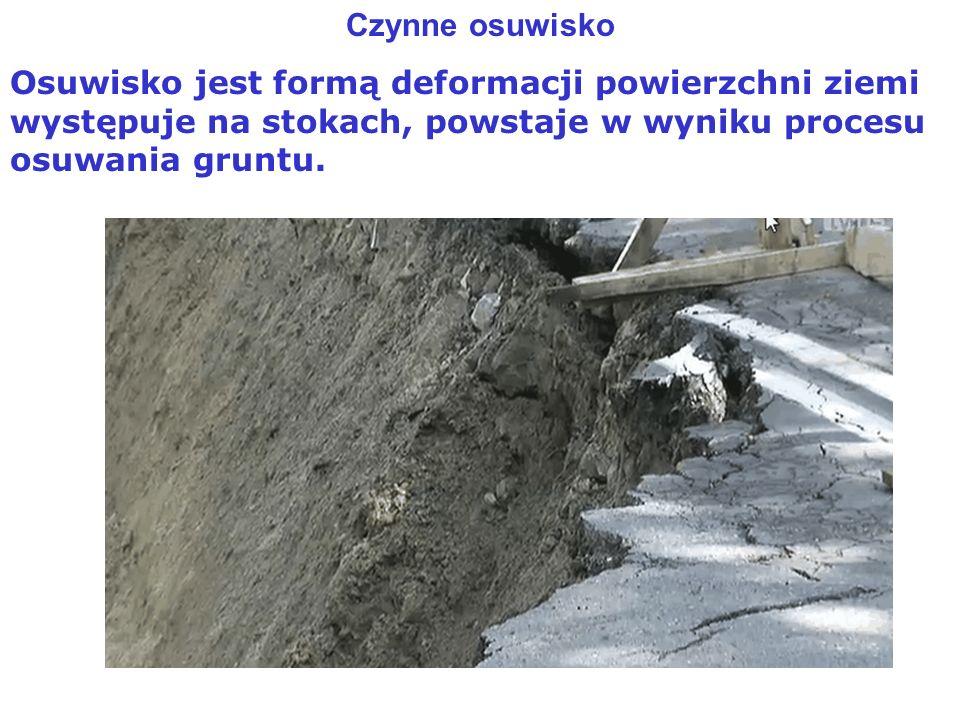 Czynne osuwisko Osuwisko jest formą deformacji powierzchni ziemi występuje na stokach, powstaje w wyniku procesu osuwania gruntu.