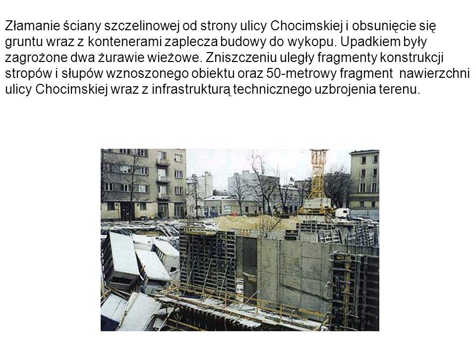 Złamanie ściany szczelinowej od strony ulicy Chocimskiej i obsunięcie się gruntu wraz z kontenerami zaplecza budowy do wykopu.