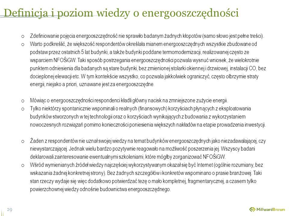 29 o Zdefiniowanie pojęcia energooszczędność nie sprawiło badanym żadnych kłopotów (samo słowo jest pełne treści).