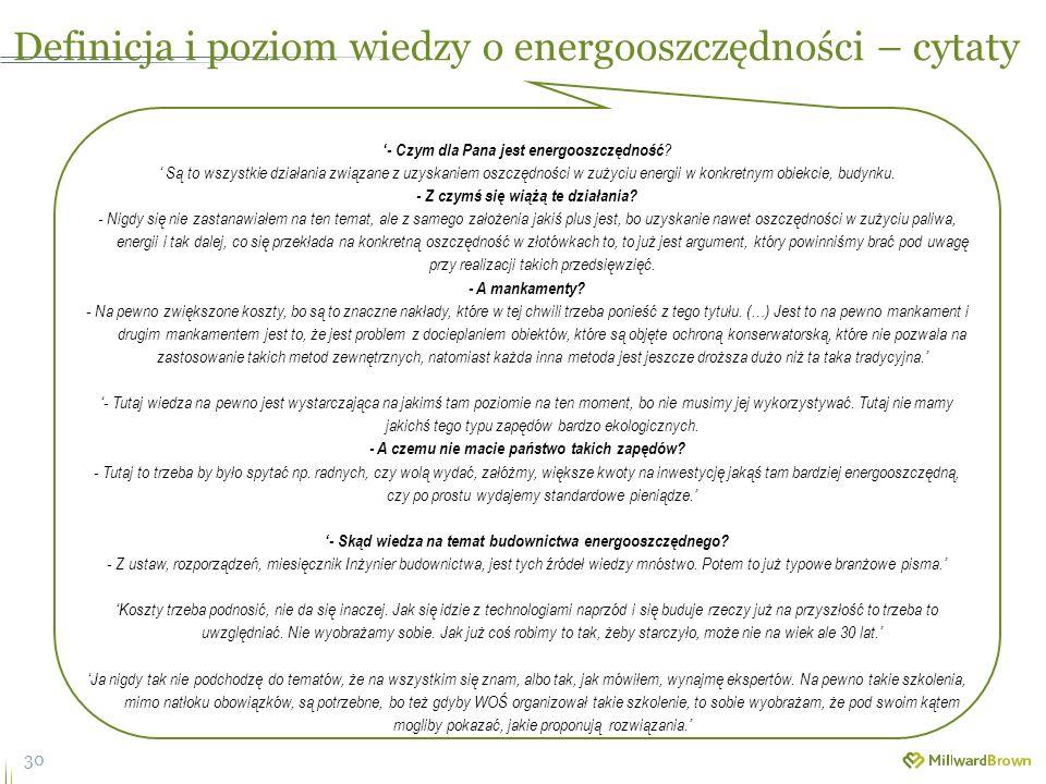 30 Definicja i poziom wiedzy o energooszczędności – cytaty '- Czym dla Pana jest energooszczędność .