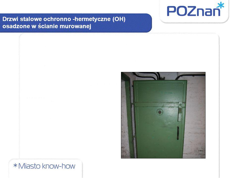 Drzwi stalowe ochronno -hermetyczne (OH) osadzone w ścianie murowanej