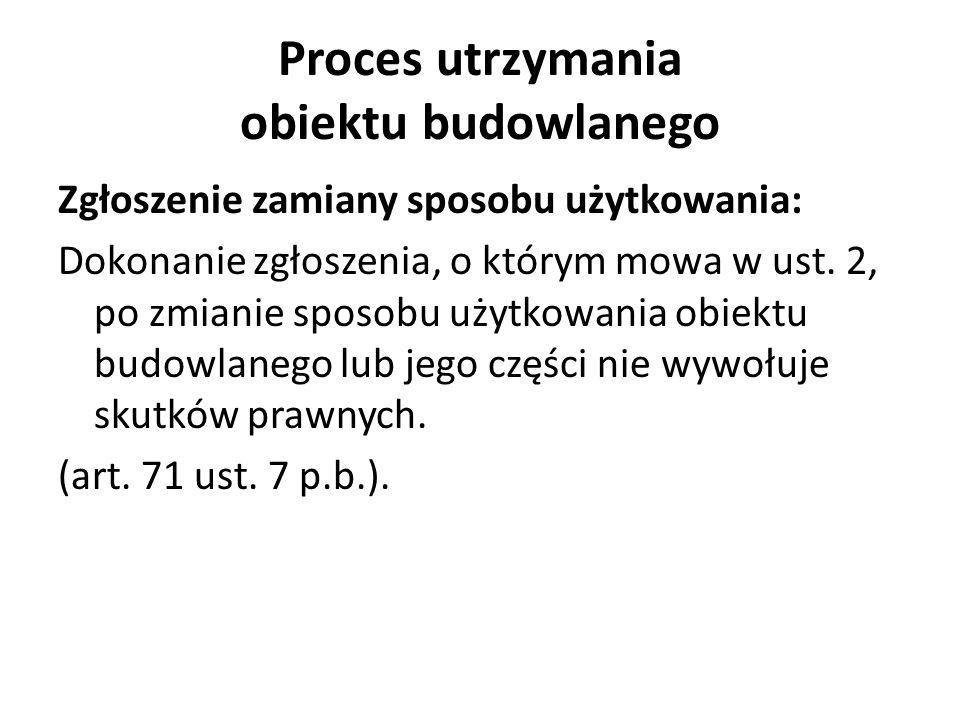 Proces utrzymania obiektu budowlanego Zgłoszenie zamiany sposobu użytkowania: Dokonanie zgłoszenia, o którym mowa w ust. 2, po zmianie sposobu użytkow