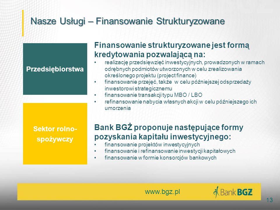 www.bgz.pl 13 Przedsiębiorstwa Sektor rolno- spożywczy Finansowanie strukturyzowane jest formą kredytowania pozwalającą na: realizację przedsięwzięć inwestycyjnych, prowadzonych w ramach odrębnych podmiotów utworzonych w celu zrealizowania określonego projektu (project finance) finansowanie przejęć, także w celu późniejszej odsprzedaży inwestorowi strategicznemu finansowanie transakcji typu MBO / LBO refinansowanie nabycia własnych akcji w celu późniejszego ich umorzenia Bank BGŻ proponuje następujące formy pozyskania kapitału inwestycyjnego: finansowanie projektów inwestycyjnych finansowanie i refinansowanie inwestycji kapitałowych finansowanie w formie konsorcjów bankowych Nasze Usługi – Finansowanie Strukturyzowane