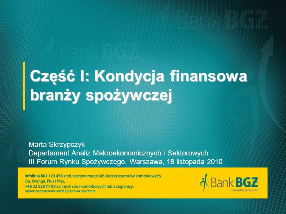 Część I: Kondycja finansowa branży spożywczej Marta Skrzypczyk Departament Analiz Makroekonomicznych i Sektorowych III Forum Rynku Spożywczego, Warszawa, 18 listopada 2010