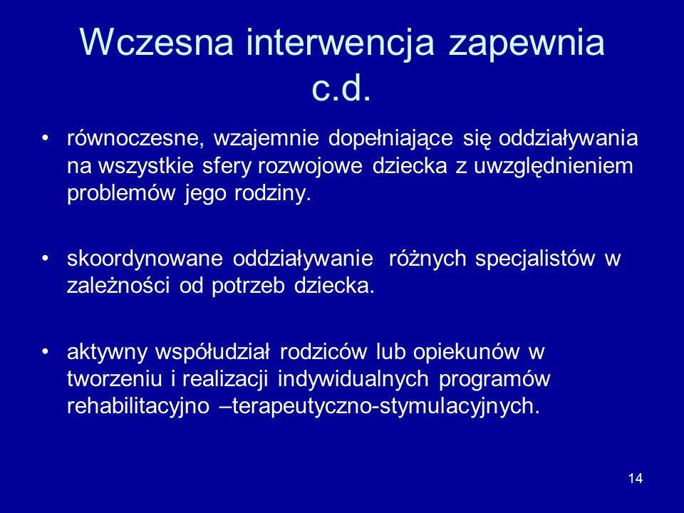 14 Wczesna interwencja zapewnia c.d.