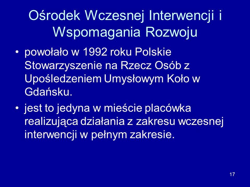 17 Ośrodek Wczesnej Interwencji i Wspomagania Rozwoju powołało w 1992 roku Polskie Stowarzyszenie na Rzecz Osób z Upośledzeniem Umysłowym Koło w Gdańsku.