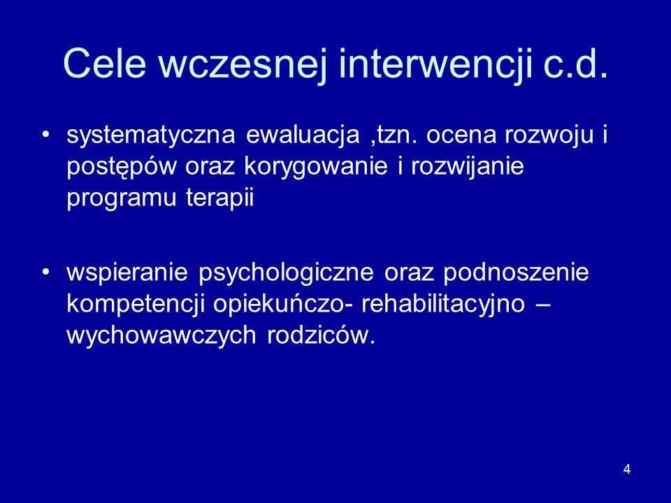 4 Cele wczesnej interwencji c.d. systematyczna ewaluacja,tzn.