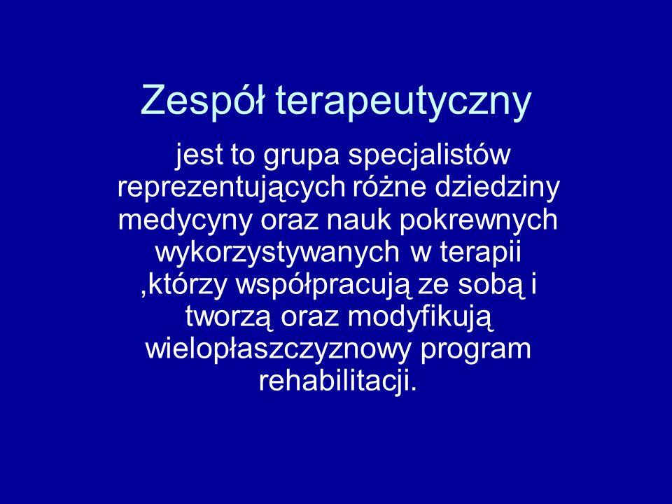 Zespół terapeutyczny jest to grupa specjalistów reprezentujących różne dziedziny medycyny oraz nauk pokrewnych wykorzystywanych w terapii,którzy współpracują ze sobą i tworzą oraz modyfikują wielopłaszczyznowy program rehabilitacji.