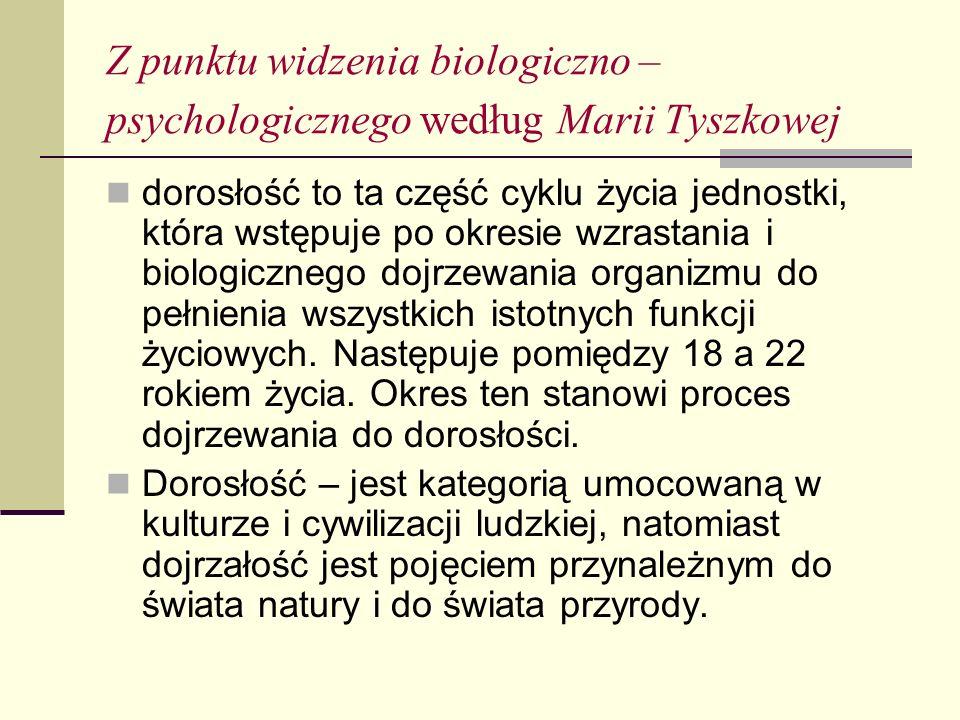 Z punktu widzenia biologiczno – psychologicznego według Marii Tyszkowej dorosłość to ta część cyklu życia jednostki, która wstępuje po okresie wzrastania i biologicznego dojrzewania organizmu do pełnienia wszystkich istotnych funkcji życiowych.