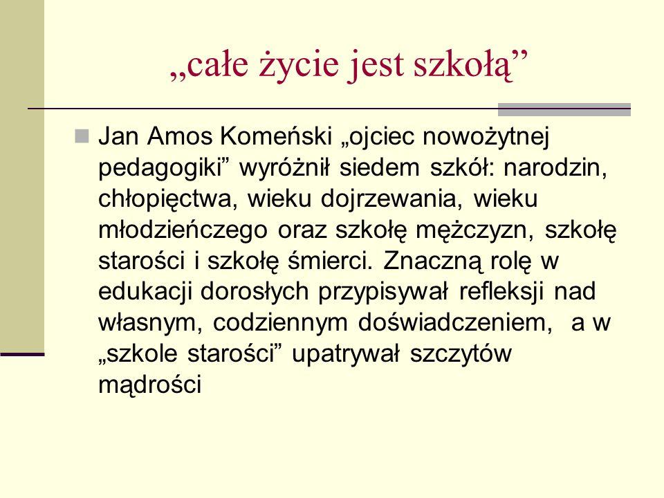 """""""całe życie jest szkołą Jan Amos Komeński """"ojciec nowożytnej pedagogiki wyróżnił siedem szkół: narodzin, chłopięctwa, wieku dojrzewania, wieku młodzieńczego oraz szkołę mężczyzn, szkołę starości i szkołę śmierci."""