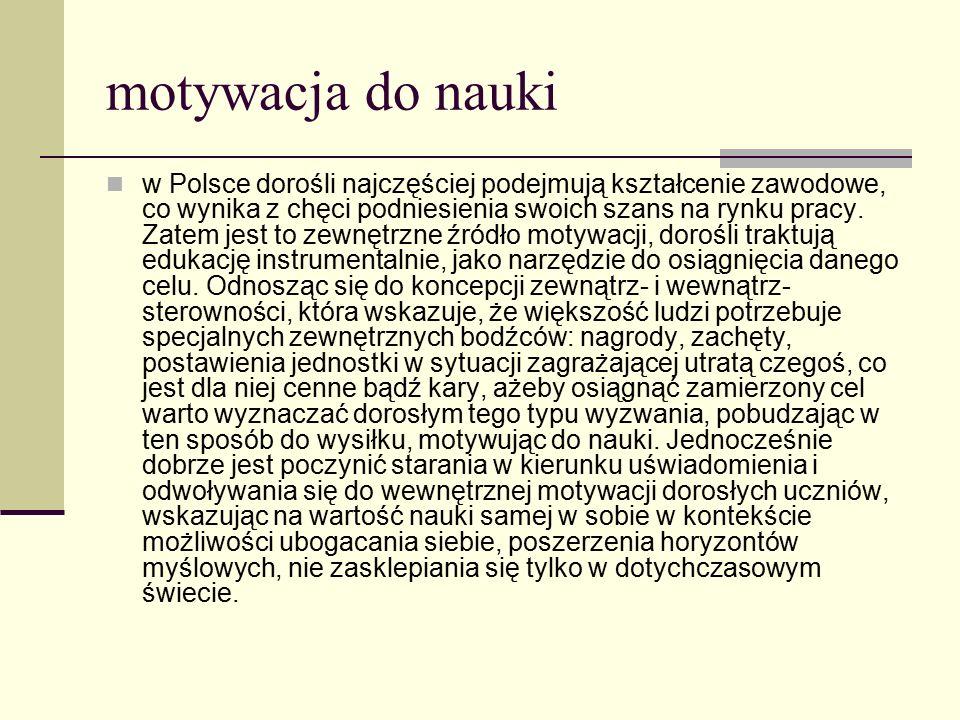 motywacja do nauki w Polsce dorośli najczęściej podejmują kształcenie zawodowe, co wynika z chęci podniesienia swoich szans na rynku pracy. Zatem jest