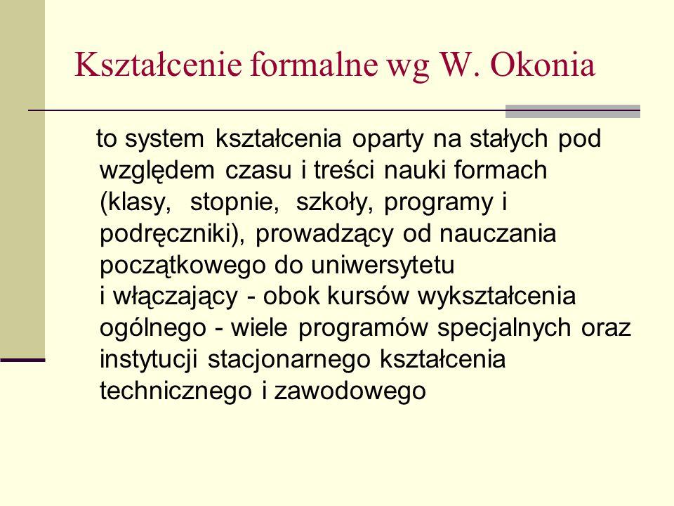 Kształcenie formalne wg W. Okonia to system kształcenia oparty na stałych pod względem czasu i treści nauki formach (klasy, stopnie, szkoły, programy