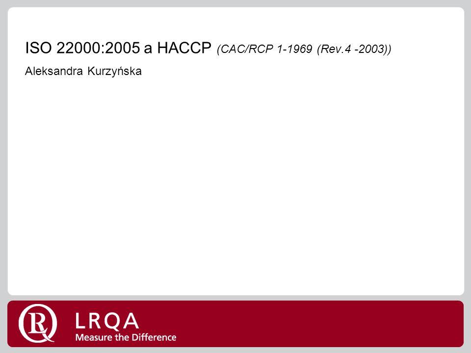 ISO 22000:2005 a HACCP (CAC/RCP 1-1969 (Rev.4 -2003)) Aleksandra Kurzyńska