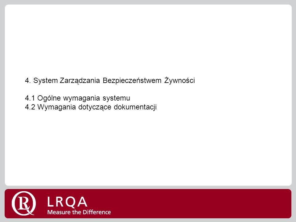 4. System Zarządzania Bezpieczeństwem Żywności 4.1 Ogólne wymagania systemu 4.2 Wymagania dotyczące dokumentacji