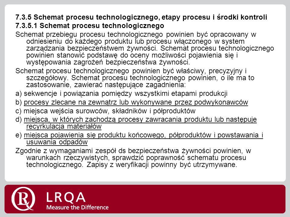 7.3.5 Schemat procesu technologicznego, etapy procesu i środki kontroli 7.3.5.1 Schemat procesu technologicznego Schemat przebiegu procesu technologicznego powinien być opracowany w odniesieniu do każdego produktu lub procesu włączonego w system zarządzania bezpieczeństwem żywności.