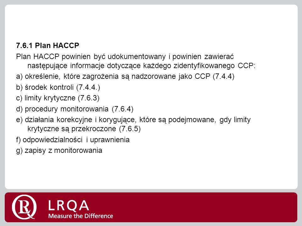 7.6.1 Plan HACCP Plan HACCP powinien być udokumentowany i powinien zawierać następujące informacje dotyczące każdego zidentyfikowanego CCP: a) określenie, które zagrożenia są nadzorowane jako CCP (7.4.4) b) środek kontroli (7.4.4.) c) limity krytyczne (7.6.3) d) procedury monitorowania (7.6.4) e) działania korekcyjne i korygujące, które są podejmowane, gdy limity krytyczne są przekroczone (7.6.5) f) odpowiedzialności i uprawnienia g) zapisy z monitorowania