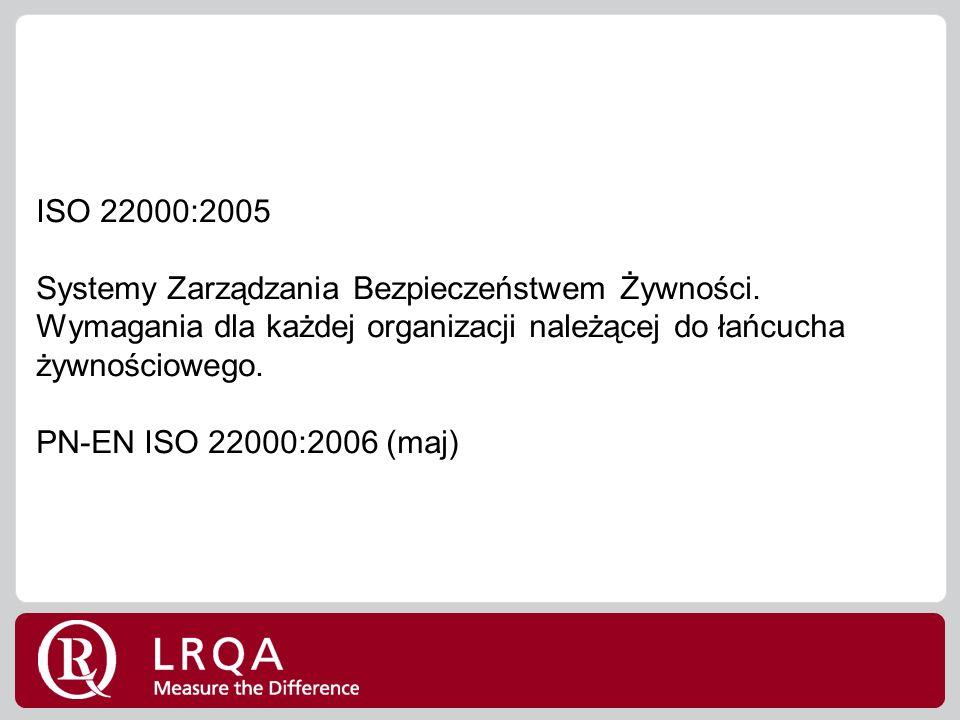 ISO 22000:2005 Systemy Zarządzania Bezpieczeństwem Żywności.