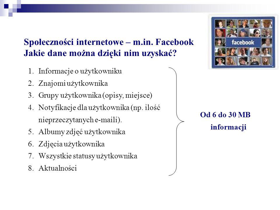 Społeczności internetowe – m.in. Facebook Jakie dane można dzięki nim uzyskać? 1.Informacje o użytkowniku 2.Znajomi użytkownika 3.Grupy użytkownika (o