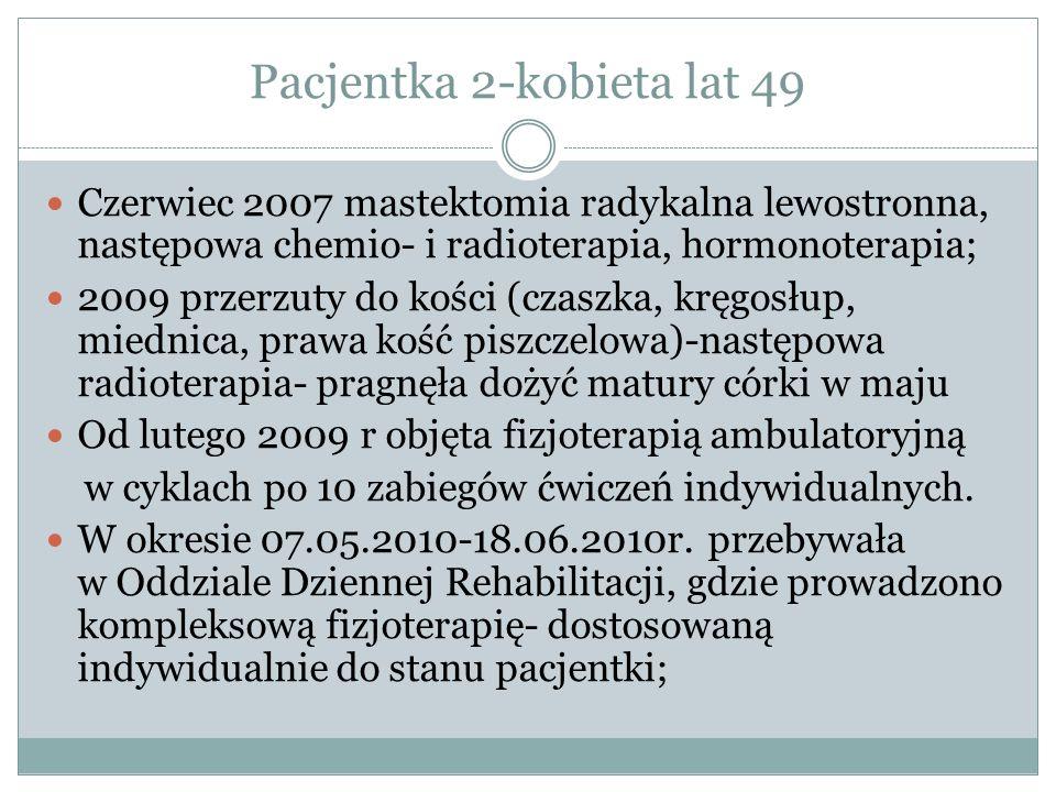 Pacjentka 2-kobieta lat 49 Czerwiec 2007 mastektomia radykalna lewostronna, następowa chemio- i radioterapia, hormonoterapia; 2009 przerzuty do kości (czaszka, kręgosłup, miednica, prawa kość piszczelowa)-następowa radioterapia- pragnęła dożyć matury córki w maju Od lutego 2009 r objęta fizjoterapią ambulatoryjną w cyklach po 10 zabiegów ćwiczeń indywidualnych.