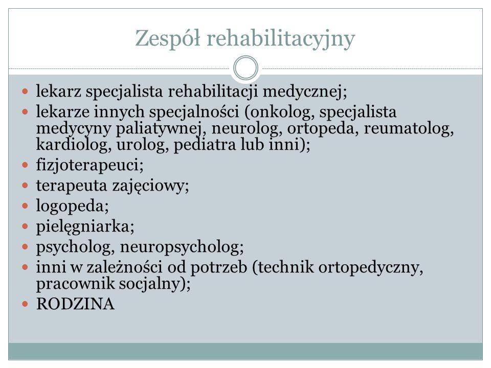 Zespół rehabilitacyjny lekarz specjalista rehabilitacji medycznej; lekarze innych specjalności (onkolog, specjalista medycyny paliatywnej, neurolog, ortopeda, reumatolog, kardiolog, urolog, pediatra lub inni); fizjoterapeuci; terapeuta zajęciowy; logopeda; pielęgniarka; psycholog, neuropsycholog; inni w zależności od potrzeb (technik ortopedyczny, pracownik socjalny); RODZINA