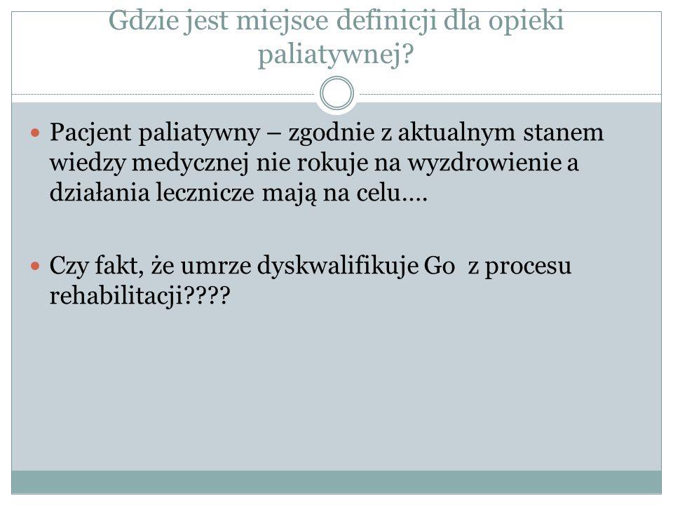 Cele rehabilitacji w opiece paliatywnej Nowe pojęcie.