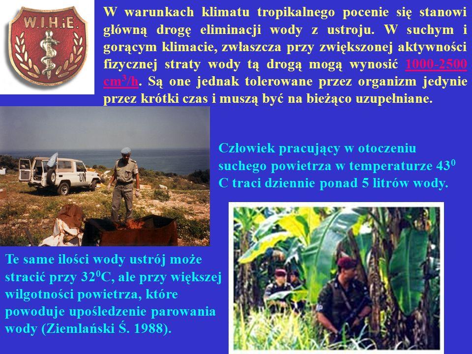 W warunkach klimatu tropikalnego pocenie się stanowi główną drogę eliminacji wody z ustroju.