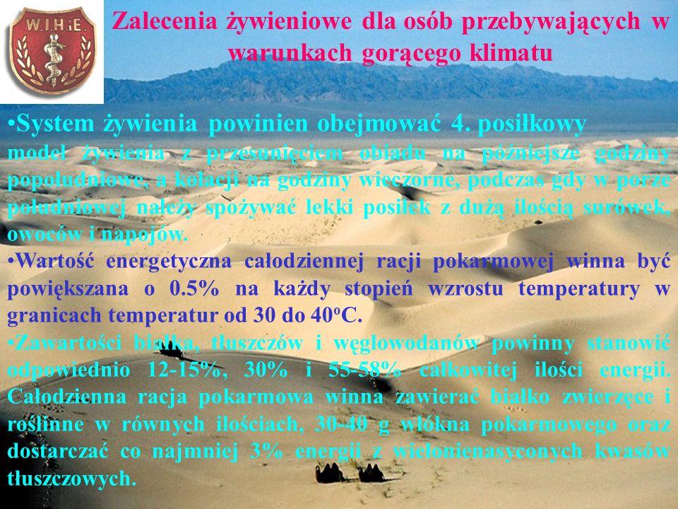 Zalecenia żywieniowe dla osób przebywających w warunkach gorącego klimatu System żywienia powinien obejmować 4.