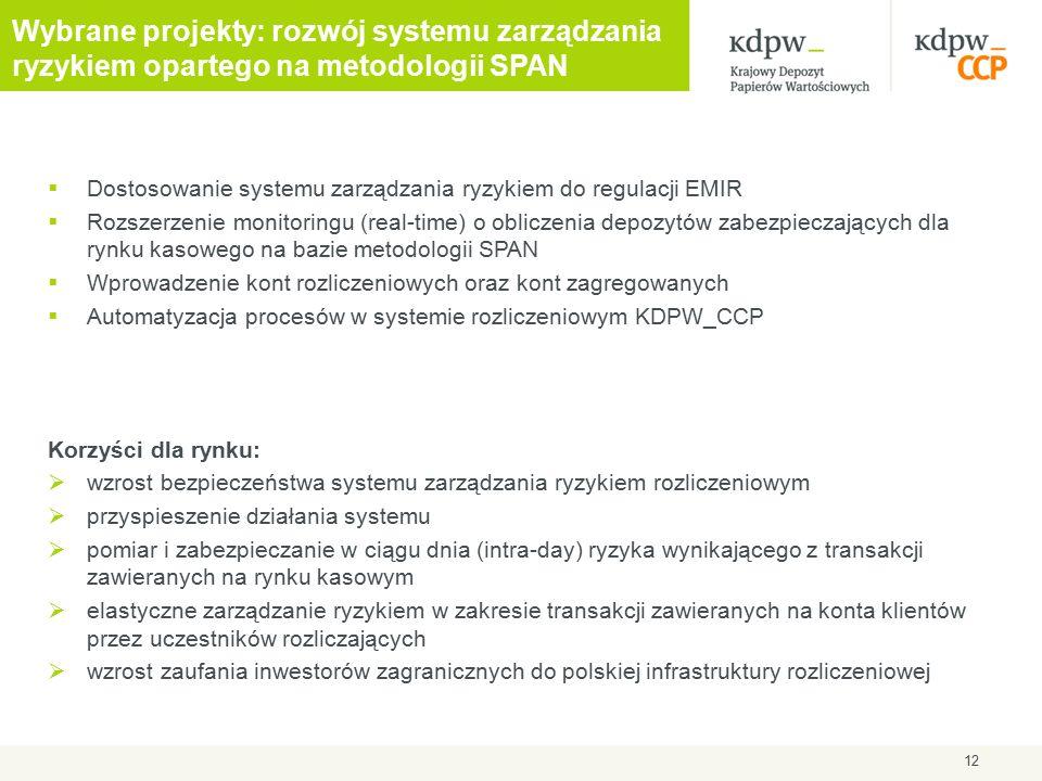  Dostosowanie systemu zarządzania ryzykiem do regulacji EMIR  Rozszerzenie monitoringu (real-time) o obliczenia depozytów zabezpieczających dla rynku kasowego na bazie metodologii SPAN  Wprowadzenie kont rozliczeniowych oraz kont zagregowanych  Automatyzacja procesów w systemie rozliczeniowym KDPW_CCP Korzyści dla rynku:  wzrost bezpieczeństwa systemu zarządzania ryzykiem rozliczeniowym  przyspieszenie działania systemu  pomiar i zabezpieczanie w ciągu dnia (intra-day) ryzyka wynikającego z transakcji zawieranych na rynku kasowym  elastyczne zarządzanie ryzykiem w zakresie transakcji zawieranych na konta klientów przez uczestników rozliczających  wzrost zaufania inwestorów zagranicznych do polskiej infrastruktury rozliczeniowej 12 Wybrane projekty: rozwój systemu zarządzania ryzykiem opartego na metodologii SPAN